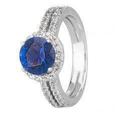 Morado Silver Round Blue Cubic Zirconia Split Shouldered Halo Ring R6101 BLUE