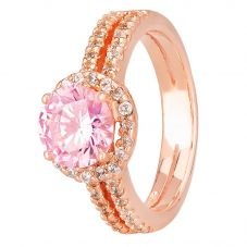 Morado Rose Gold Round Pink Cubic Zirconia Split Shouldered Halo Ring R6101 PINK RGP