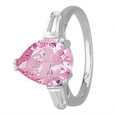 Morado Silver Pear-cut Pink Cubic Zirconia Trilogy Ring R6229 PINK