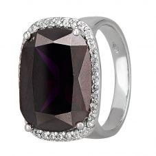 Morado Silver Cushion-cut Dark Purple Cubic Zirconia Halo Ring R4662 PURPLE