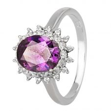 Morado Silver Oval Purple Cubic Zirconia Cluster Ring R7084 PURPLE