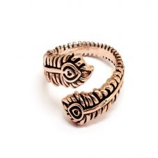 Chrysalis BODHI Rose Gold Plated Adjustable Peacock Feather Ring CRRT0511AR