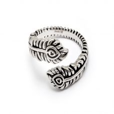 Chrysalis BODHI Silver Adjustable Peacock Feather Ring CRRT0511AS