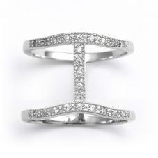 V Jewellery Silver Cubic Zirconia Spine Ring 3098-R