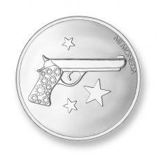 Mi Moneda Silver Plated Small Aim High and Pistol Coin MON-AIM-01-S