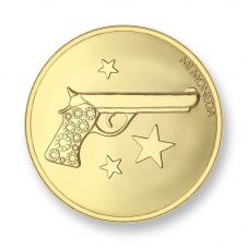 Mi Moneda Gold Plated Large Aim High and Pistol Coin MON-AIM-02-L