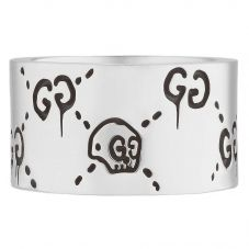 Gucci Ghost Silver 12mm Band Ring YBC455319001