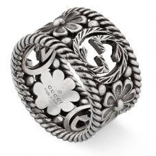 Gucci Interlocking G Wide Silver Flower Ring YBC577272001