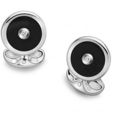 Deakin and Francis Round Onyx And Diamond Cufflinks L0613X0004