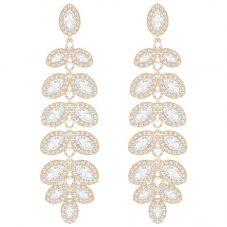 Swarovski Baron Rose Gold Tone Leaf Earrings 5350617
