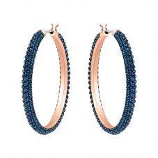 Swarovski Stone Rose Gold Tone Blue Crystal Hoops Earrings 5408459