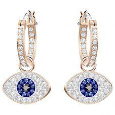 Swarovski Duo Rose Gold Tone Blue Evil Eye Hoop Earrings 5425857