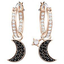 Swarovski Duo Rose Gold Tone Black Moon Hoop Earrings 5440458
