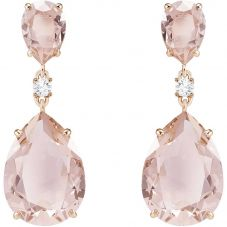 Swarovski Vintage Rose Gold Tone Pink Pear Dropper Earrings 5424361