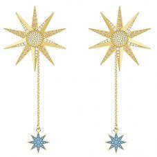 Swarovski Lucky Goddess Gold Tone Blue Crystal Star Dropper Earrings 5464169
