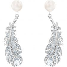 Swarovski Nice Pearl White Crystal Feather Earrings 5496052
