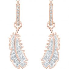 Swarovski Naughty White Crystal Feather Rose Gold Tone Hoop Earrings 5497872