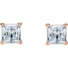 Swarovski Attract White Crystal Square Rose Gold Tone Stud Earrings 5509935