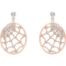Swarovski Precisely White Crystal Rose Gold Tone Dropper Earrings 5488406