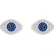 Swarovski Symbolic Blue Crystal Eye Rose Gold Tone Stud Earrings 5510067