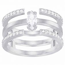 Swarovski Grey Crystal 3 Row Ring Set