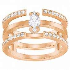 Swarovski Gray Rose Gold Tone Crystal 3 Row Ring Set