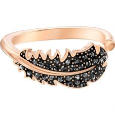 Swarovski Naughty Black Crystal Feather Rose Gold Tone Ring