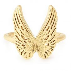 ALEX AND ANI Gold Plated Guardian Angel Wing Adjustable Ring PC18ERGAG