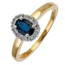 18ct Gold Diamond Sapphire Oval Cluster Ring 18DR254-S-2C