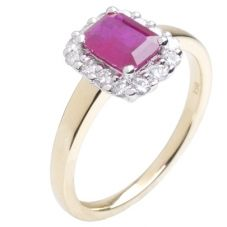 18ct Gold Emerald Cut Ruby and Diamond Sapphire Ring  18DR258-R-2C