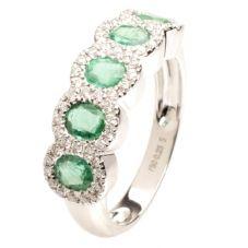 18ct White Gold Diamond Emerald Five Stone Ring 18DR431-E-W