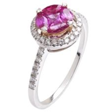 18ct White Gold Pink Sapphire Diamond Ring 18DR445-PS-W
