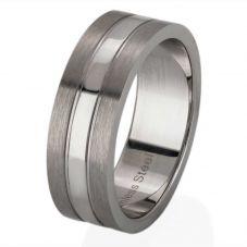 Thomas Henry Flat Matte Polished Band Ring SR1355