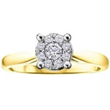 9ct Yellow Gold 0.30ct Diamond Round Cluster Ring 1903/30-9