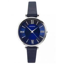 Sekonda Ladies Editions  Stainless Steel Dark Blue Dial Leather Strap Watch 2844