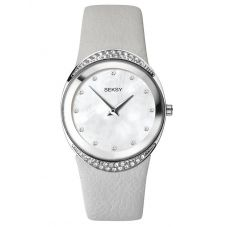 Sekonda Ladies Seksy Rhodium Plated Mother Of Pearl Dial Grey Leather Strap Watch 2730