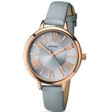 Sekonda Ladies Rose Gold Plated Grey Strap Watch 2356