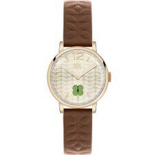 Orla Kiely Frankie Brown Leather Strap Watch OK2008