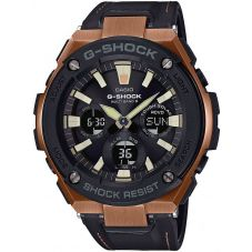 Casio G-Shock G-Steel Solar Dual Display Brown Leather Strap Watch GST-W120L-1AER
