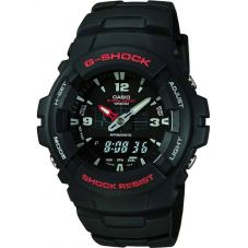 Casio G-Shock Classic Dual Display Black Plastic Strap Watch G-100-1BVMUR