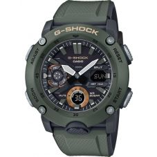 Casio G-Shock Classic Carbon Dual Display Green Plastic Strap Watch GA-2000-3AER