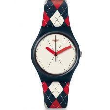 Swatch Socquette Multicolor Rubber Strap Watch GN255