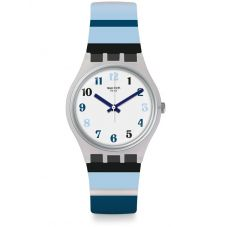 Swatch Night Sky Blue And White Stripe Rubber Strap Watch GE275