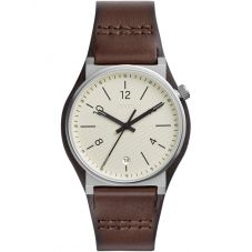 Fossil Mens Barstow Stainless Steel Cream Dial Brown Leather Strap Watch FS5510