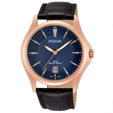 Pulsar Mens Brown Leather Strap Watch PS9388X1