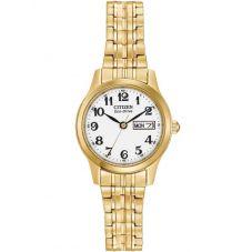 Citizen Ladies Corso Gold Tone Expandable Bracelet Watch EW3152-95A