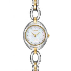 Citizen Ladies Silhouette Crystal Two Tone Open Link Bracelet Watch EX1434-55D