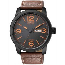 Citizen Mens Chandler Military Brown Leather Strap Watch BM8475-26E