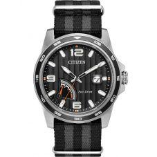 Citizen Mens PRT Black Fabric Strap Watch AW7030-06E