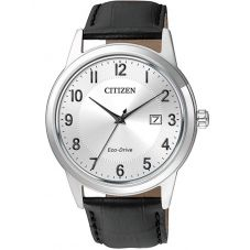 Citizen Mens Corso Black Leather Strap Watch AW1231-07A